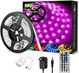 LE LED Strip Lights, 16.4ft RGB LED Strips, 5050 SMD LED Color Changing Strip Light with 44 Keys Remote Controller and 12V Power Supply, LED Lights for Bedroom, Home, TV Backlight, Kitchen