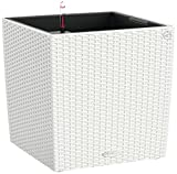 Lechuza 15390 Cube Cottage 50 Self-Watering Garden Planter for Indoor and Outdoor Use, White Wicker