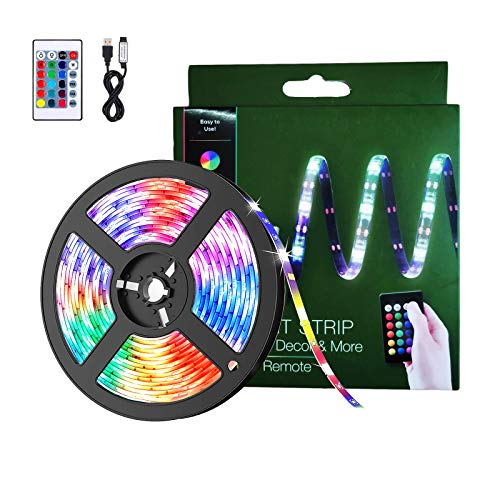 BACKTURE Striscia LED, 2M 60 LED RGB 5050 Luci LED Camera da Letto con Telecomando, Striscia Luminosa a LED con 16 Colori & 4 modalit Adatto per Decorazioni per Camera/TV/Casa