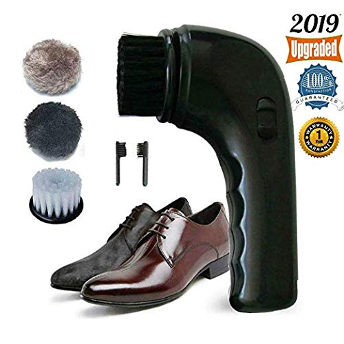 Electric Shoe Polisher Brush,Onefuntech Shoe Buffer Kit Shoe Shiner Dust Cleaner Portable Wireless Leather Care Kit for Shoes, Bags, Sofa (Black)
