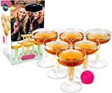 Ideas In Life Champagne Pong Classic Party Drinking Game Set - Contains 12 Plastic Reusable Glasses and 6 Pink Pong Balls for Weddings, Parties and More