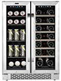 Whynter Cooler BWB-2060FDS 24' Built-In French Door Dual Zone 20 Bottle Wine Refrigerator 60 Can Beverage Center, Stainless Steel, One Size