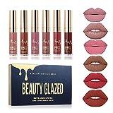 Beauty Glazed - Juego de pintalabios líquido mate 6 colores, resistente al...