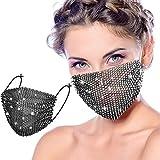 Bling Strass Maske Kette Kristall Metall Maskerade Masken Ball Party Nachtclub Gesicht Halskette Venezianischen Karneval Schmuck für Frauen und Mädchen (Schwarz)