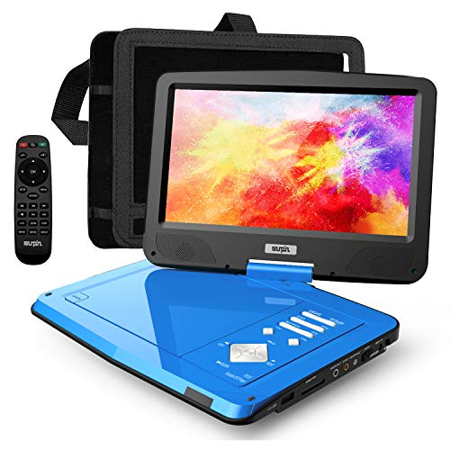 SUNPIN 12.5' Portable DVD Player for Car and Kids with Headrest Mount, 10.1' HD Screen, 5 Hours Rechargeable Battery, Remote Control, Car Charger Wall Charger, Region Free, Ideal for Road Trip, Blue