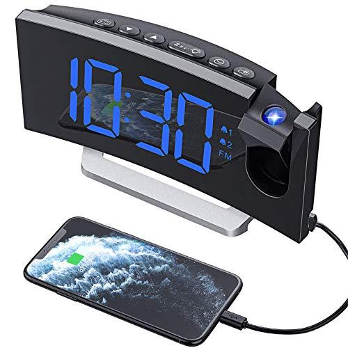 Mpow Projektionswecker, Wecker Digital mit Projektion, Radiowecker mit USB-Anschluss, Dual-Alarm, 5 Alarmtöne mit 3 Lautstärke, 0-100{eebf589a1070b5876e748070edc1a801c9159412e49b99c20797dc0d84880b25} Helligkeitsdimmer, 4 Projektionshelligkeit, 30 FM Radio