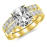 14K Yellow Gold 2.02 CTW Classic Prong Set Bridal Set With Wedding Band and Diamond Engagement Ring...