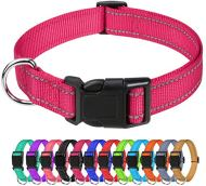 TagME Collare per Cani in Nylon Riflettente, Fibbia Staccabile Durevole, Collari di Sicurezza Regolabili per Cani di Piccola Taglia, Rosa Caldo, Larghezza 1.5 cm