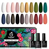 Beetles 20Pcs Gel Nail Polish Kit Fall Winter Colors, with Glossy & Matte Top Coat and Base Gel- Lucky Tarot Collection, Popular White Black Nude Grey Green Nail Art Solid Glitters Colors Soak Off UV Gel Polish