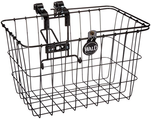 Wald 3133 Front Quick Release Bicycle Basket with Bolt on Clamp (14.5 x 9.5 x 9, Black)