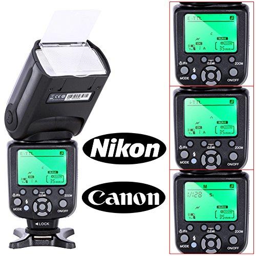 Neewer® Triopo TR-988 E-TTL CANON I-TTL NIKON スピートライトカメラスレーブフラッシュ Canon & NikonDSLRカメラに対応*ハイスピードシンクロ*Canon EOS 5D Mark III , 5D Mark II, 1Ds Mark 6D, 5D, 7D, 60D, 50D, 40D, 30D, ,EOS kiss Digital,X7, XT, X, X2 ,X, T4, T5, T6, T7, XS, Nikon D4S D4 D3S D800 D700 D80 D90 D7000 D7100 D50 D40X D60 D5000 D5100 D5200 D5300 D40 D3000 D3100 D3200 D3300