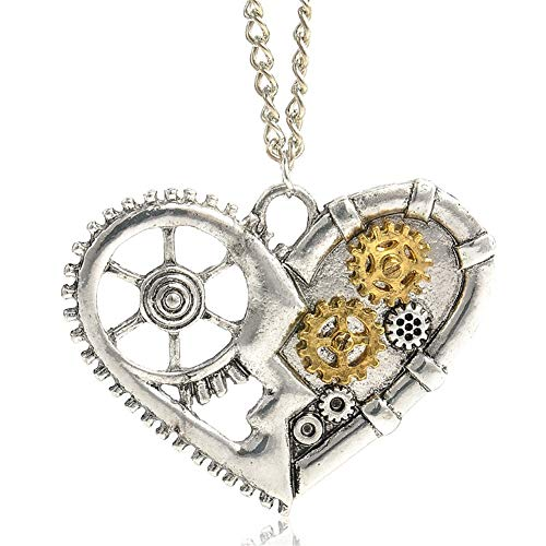 AILUOR Steampunk Gear Pendant Necklace, Punk Vintage Gothic Love Heart Owl Butterfly Bee Insect Chain Sweater Pendant Necklace Jewelry for Women Girl (Heart) (Jewellery)