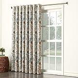 Sun Zero Kara Floral Print Energy Efficient Grommet Patio Door Curtain Panel, 100' x 84', Stone/Gray