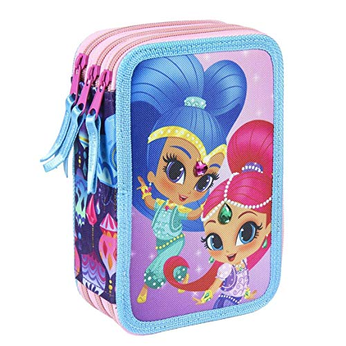 takestop ASTUCCIO SHIMMER E SHINE MAGIC NICKELODEON COLORATO 3 ZIP 7x15x22 cm CERNIERE SCOMPARTO...