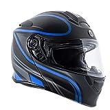 TORC Unisex-Adult Flip-Up Motorcycle Helmet (Matte Black Blue, X-LARGE)