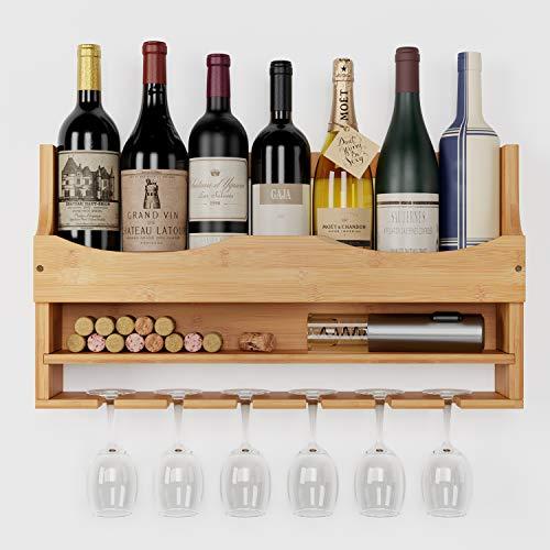 HOMECHO Scaffale Portabottiglie Vino, Montaggio Parete Vino Rosso Organizer, con Porta Bicchieri Integrato per 4 Bottiglie e Portabicchieri 6 Posti, 55 x 10 x 30 cm