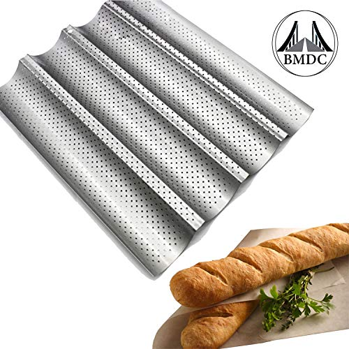StarDFC French Bread Baking Pan Nonstick Perforated Baguette Pan 4Loaves Loaf Bake Mold Toast Cooking Bakers Molding Silver