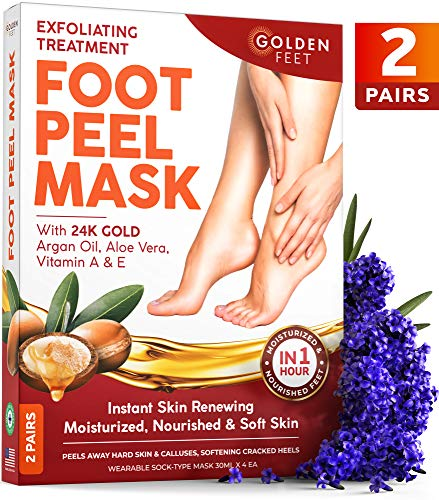 24K Gold Foot Peel Mask - 2 Pack - Argan Oil, Aloe Vera, Vitamin A & E Peeling Masks - Make Your Feet Baby Soft - Dry Dead Skin Exfoliating Callus Remover - Repair Rough Cracked Heels - Foot Care for Men & Women