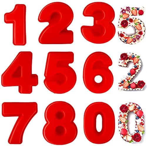 Frasheng 9 Piezas Moldes de Silicona para Tartas,Moldes Números para Tartas con 0-8 Números,4 pulgadas,Molde de Silicona Números,para Hornear,Tarta,DIY,Galleta,Cumpleaños,Jabón,Navidad,Boda,Fiesta