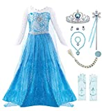 Padete Little Girls Princess Dress Snow Party Queen Halloween Costume (5 years/120, Blue LS with Accessories)