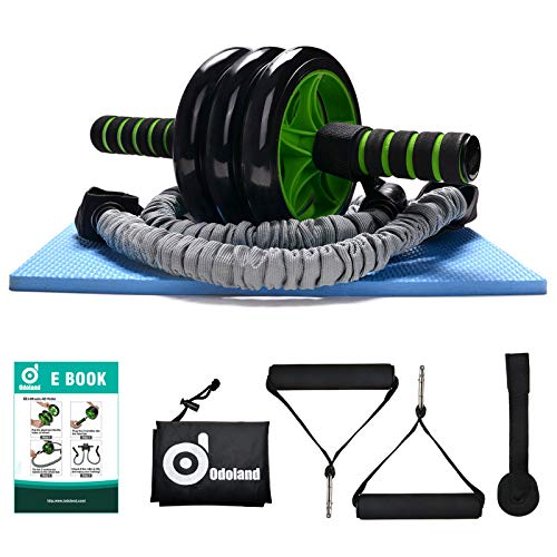 Odoland 3-In-1 AB Wheel Roller Kit AB Roller Pro with Resistant Band,Knee Pad,Anti-Slip Handles,Storage Bag and...