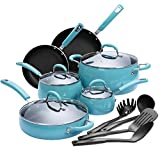 Finnhomy Hard Porcelain Enamel Aluminum Cookware Set, Ceramic Cookware Set, New Technology Double Nonstick Coating Kitchen Pots and Pan Set, 14-Piece, Blue