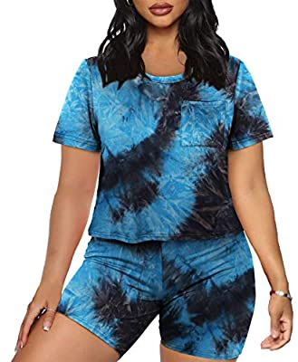 Desgin: Two Piece Outfits, Short Sleeve Workout Sets, Round Neck Loose Crop Tops + High Waist Bodycon Shorts, Casual Athletic Clothing Sets. Materials : Polyester + Spandex, So Soft and Comfortable and Breathable Even for Hot Weather!Super Cute and S...