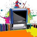 TRODAT PRINTY 4913 | Tampon encreur professionnel personnalisé 5 lignes | 10 couleurs disponibles | EMPREINTE 58 x 22 mm OFFERTE (Bleu)