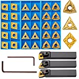 33 Pieces Lathe Excircle Indexable Carbide Turning Tool Holder Bit Set MTJNR1616H16 + MWLNR1616H08 + MCLNR1616H12 with 30 CNMG 431 + WNMG 431 + TNMG 331 Metal Indexable Carbide Turning Insert Blades
