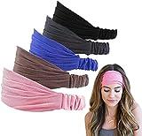 Ealicere 5pcs Bandeau Cheveux Femme Elastique Bande Sport Headband pour...