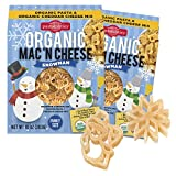 Pastabilities Organic Kids Snowman Mac and Cheese, Fun Shaped Noodles with Cheddar Cheese Powder for Kids and Holidays, Non-GMO Pasta (10 oz, 2 Pack)