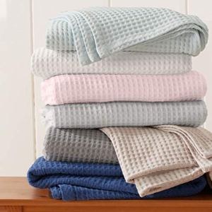 Great Bay Home 100% Cotton Waffle Weave Thermal Blanket. Super Soft Season Layering. Mikala Collection (Full/Queen, Pale Blue)