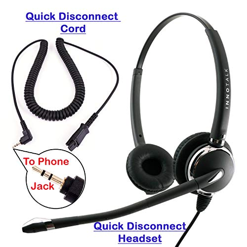 2.5mm Phone Telephone Headset - Best Pro Noise Cancel Binaural Office Headset for Polycom Cisco Panasonic Vtech Uniden Grandstream and Cordless Dect Phones Compatible with Plantronics QD
