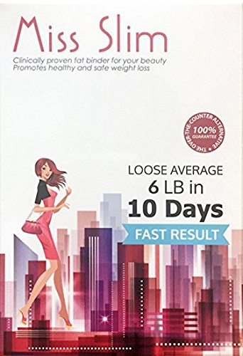 Miss Slim Weight Loss for Women - Clinically Proven Fast Fat Binder Weight Loss Pills Manufactured in an FDA Registered Laboratory  Extreme Potency Diet Pill (Miss Slim 10 Pills/pk)