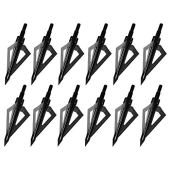 Sinbadteck Hunting Broadheads, 12PCS 3 Blades Archery Broadheads 100 Grain Screw-in Arrow Heads Arrow Tips Compatible with Traditional Bows and Compound Bows (Black)