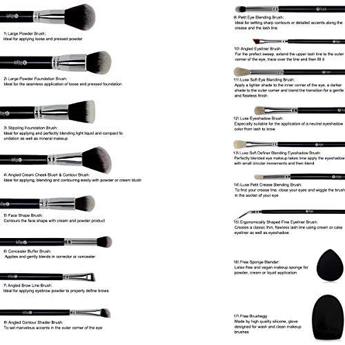 Product Image 6: Makeup Brush Set,FEIYAN 15pcs Make up Brushes Soft and Dense Vegan Bristles Powder Foundation Eyeliner Eyebrow Blush Eyeshadow Blending Brush Kit with Case and Makeup Sponge Brush Cleaner