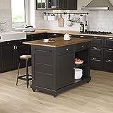 Dorel Living Kelsey 2, Black & Rustic Oak Kitchen Island with Stools, Black