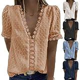 2021 Nouveau Chemise à Manches Courtes Femme T-Shirt Sexy D'été à Col en V Dentelle Crochet Blouse Solide Chemiser Haut Tunique