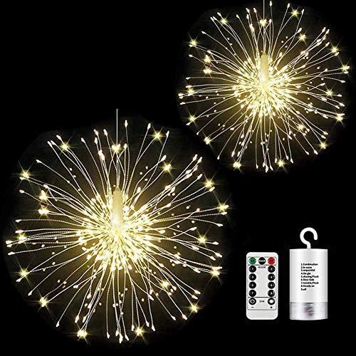 Luci Fuochi d'Artificio, StillCool Luci da Fata LED 2 Pacchi 150 LED 8 modalit Telecomando Interno All'aperto Giardino Nozze Natale Festa arredamento Bianco caldo (bianco caldo)