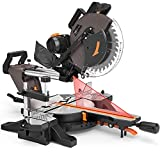 12-Inch TACKLIFE Sliding Compound Miter Saw, Double-Bevel Cuting (-45°-0°-45°), 15-Amp Rotorazer Miter Saw with Laser Guide, Extensible Table, Dust Bag, 40T Blade for Versatile Material Cutting