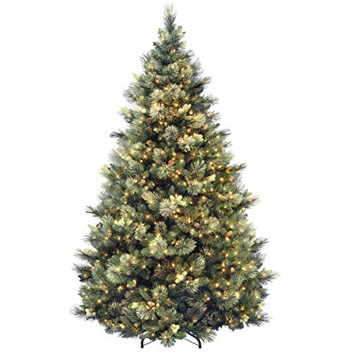 National Tree Company 7.5 Ft Carolina Pine Pre-lit Artificial Christmas Tree | Includes Pre-strung White Lights and Stand