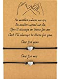 MANVEN Graduation Gifts Mom and Daughter Bracelets Pinky Promise Matching String Bff Bracelets for 2 Women Men Best Friend Wish Teens Boy Girls Couple(Ver.2)