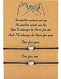 MANVEN Pinky Promise Matching String BFF Bracelets for 2 Women Men Mom Daughter Best Friend Wish Teens Boy Girls Couple