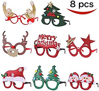 Pack of 8 Christmas Party Fancy Glasses Frames with 8 Designs Christmas Parties and Photo..