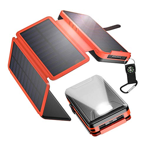 IEsafy Solar Charger 26800mAh, Outdoor Solar Power Bank with 4 Foldable Solar Panels and 2 High-Speed Charging Ports for Smartphones, Tablets, Samsung, iPhone with Waterproof LED Flashlight(Orange)