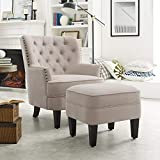 Rosevera Collection Fabric Nailhead Home Gustavo, Beige with Ottoman
