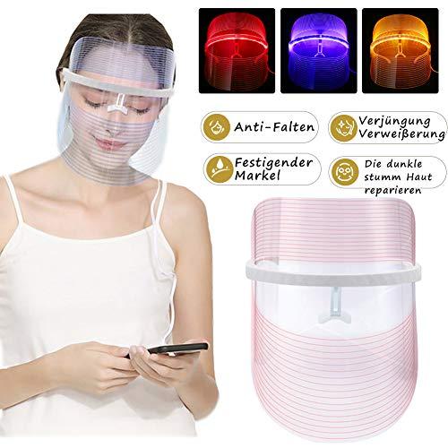 3 Farben LED Gesichtsmaske Photonen-Therapie Hautverjüngungs Lichttherapie Maske, Anti Falten Whitening Akne EntfernungMaske, LED Gesichtsmaske, Schönheit Gesichtspflege,Schönheit maske