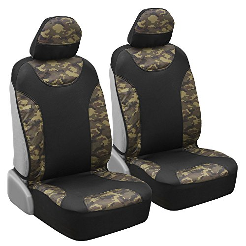 Waterproof Camo Seat Covers for Truck Car SUV - Two Tone Black & Camouflage Sideless Front Auto Seat Protectors