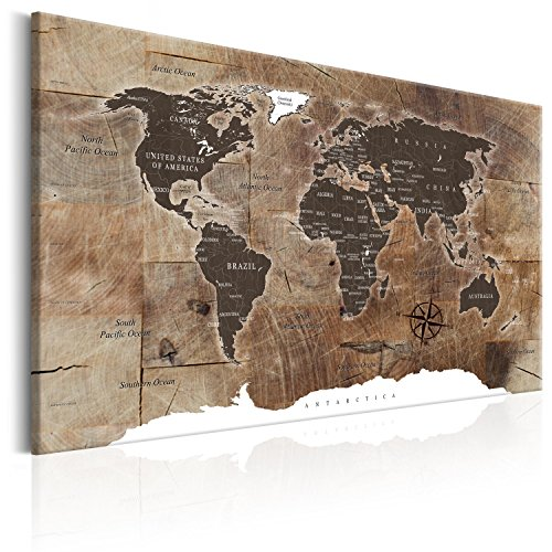 murando Quadro Acustico Mappamondo 120x80 cm 1 Pezzo Lavagna di Sughero Quadri Moderni su Tela Non...