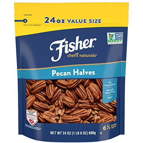 FISHER Chef's Naturals Pecan Halves, 24 oz, Naturally Gluten Free, No Preservatives, Non-GMO